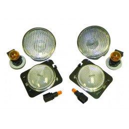 Clignotants blancs Jeep Wrangler JK 2007-2013 , veilleuses + Répétiteurs + douilles + ampoules