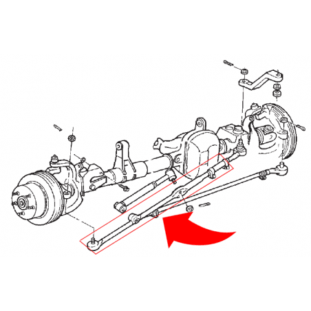 Barre de direction + rotule soudée côté roue droite - Jeep Wrangler TJ 1997-2006 // 52087887
