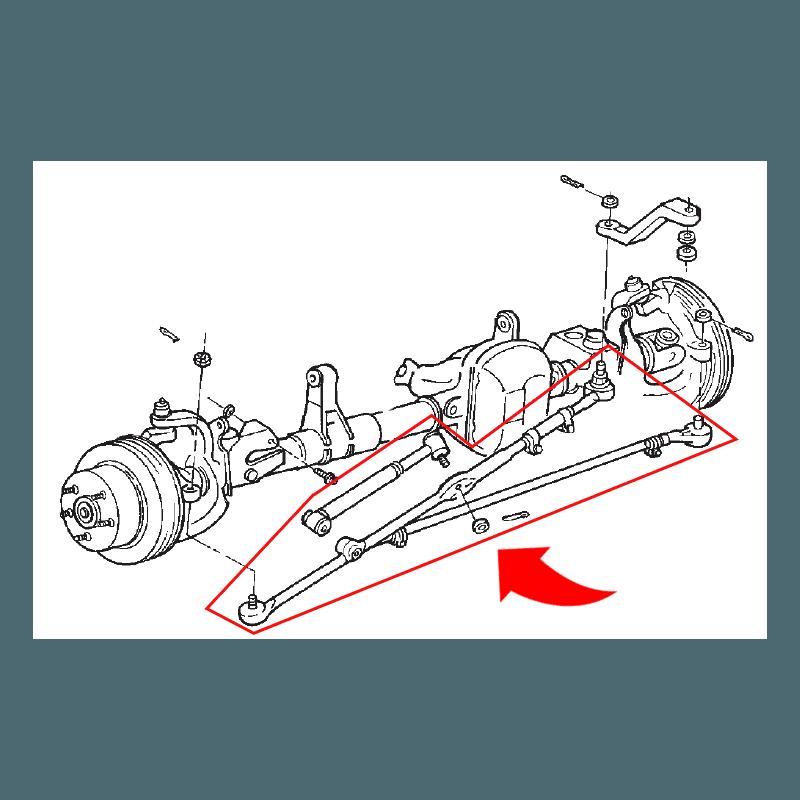 Kit barre de direction + barre d'accouplement + amortisseur de direction - Jeep Wrangler TJ 97-06 // SK2