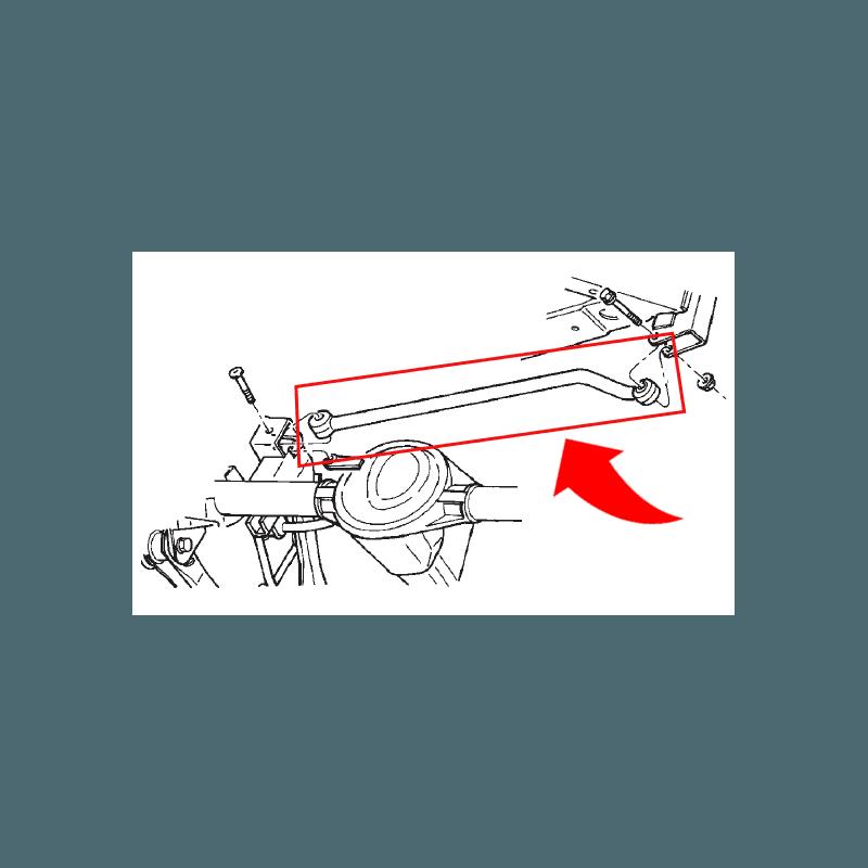 Barre Panhard Arrière Performance, Renforcée et Réglable, silent-bloc montés - Jeep Wrangler TJ 97-06 // RT21052