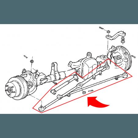 Kit Barre de Direction + Barre accouplement + Amort. - renforcées - Jeep Wrangler TJ / Cherokee XJ / Grand Cherokee ZJ 91-06