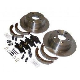 Kit de freins arrière 305 mm - Disques + plaquettes + mâchoires et accessoires frein parking - Jeep Grand Cherokee WJ 1999-2004