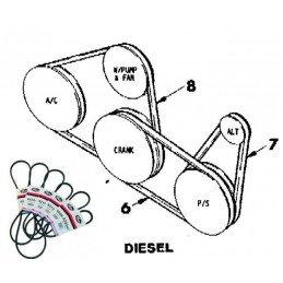 Courroie Trapézoïdale -Dir. Assistée vers Alternateur - Jeep Cherokee XJ 2.1 TD 1986-94 // JY013271