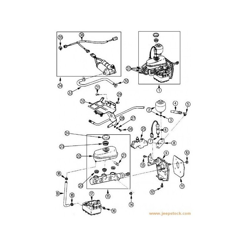 Mastervac poumon d'assistance de freins - Jeep Cherokee XJ 2.1L TD, 2.5L, 4.0L Ess sans ABS 1984-94 // 83501533
