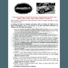 Document Comment vidanger la boite auto Jeep (AW4, 32RH, 42RE, 44RE, 46RE, 45RFE et 545RFE avec jauge d'origine.