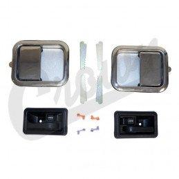Poignées (x4) de portes G+D, intérieur + extérieur - Chromé - Jeep Wrangler TJ 97-06 / YJ 87-95 / CJ 81-86 // 5758172MK