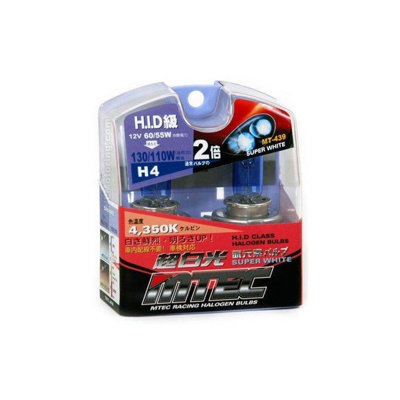 Ampoules MTEC (X2) H4 Super Halogen Bleu 55/60 Watts - Jeep Wrangler YJ, TJ / Cherokee XJ, KJ / Grand-Cherokee ZJ //MT439