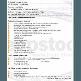 Document Bon de garantie / notice de montage Bloc moteur echange-standard 150LB3 2,5L 87-90