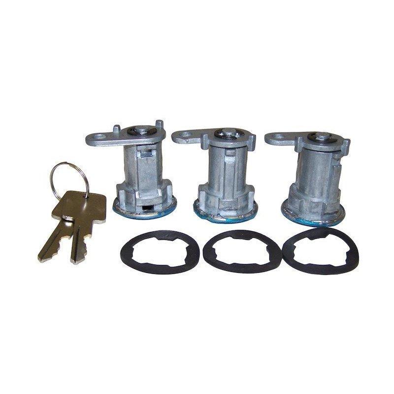 Kit 3x barillets de portes + ridelle avec 2 clefs Jeep Wrangler YJ 87-90 / CJ 76-84 // 8122874K3