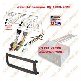Kit Adaptation support + connecteur autoradio 1 DIN Europe Jeep Grand-Cherokee WJ 1999-2001 // KIT-CR01B-STD