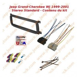 Kit d'adaptation support + connecteur autoradio 1 DIN Europe Jeep Grand-Cherokee WJ 1999-2001 Steréo amplifiée Infinity