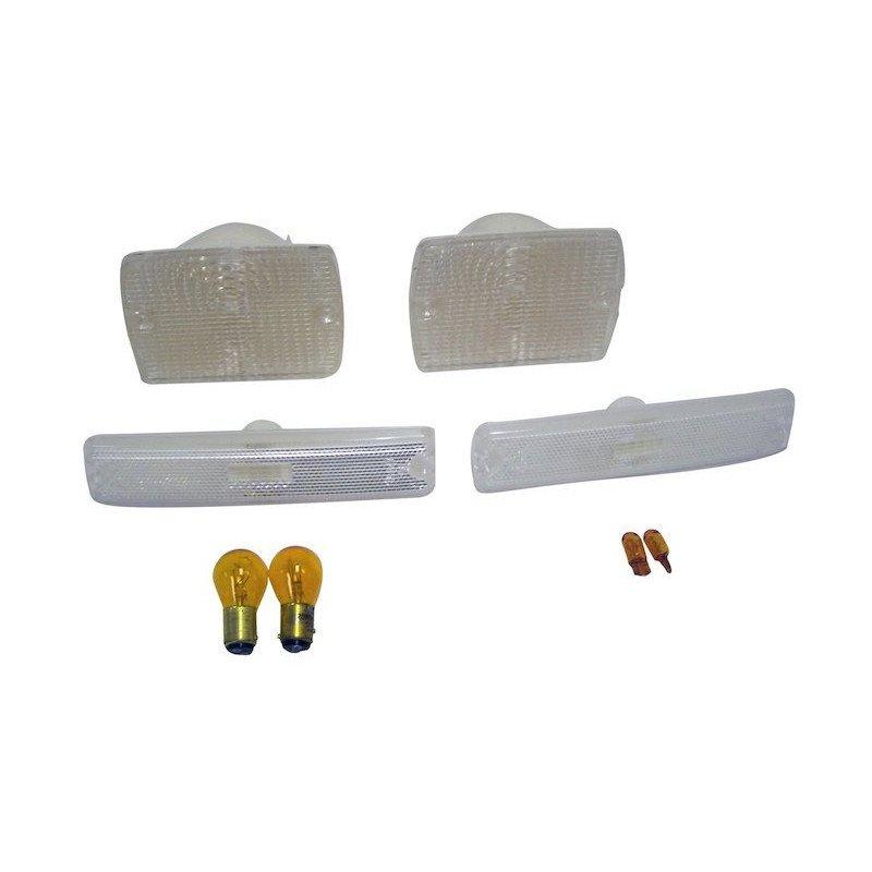 KIT Répétiteurs clignotant, veilleuses/clignotants calandre, blanc - Jeep Wrangler YJ 87-95 // RT28010