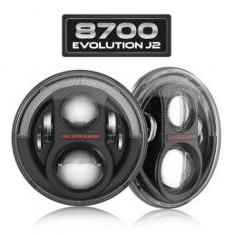 Phare Rond à LED (X2) Noirs 7 pouces JW Speaker - EUROPE - Model 8700 Evolution J2 Series - Jeep Wrangler JK // 0824.27X2