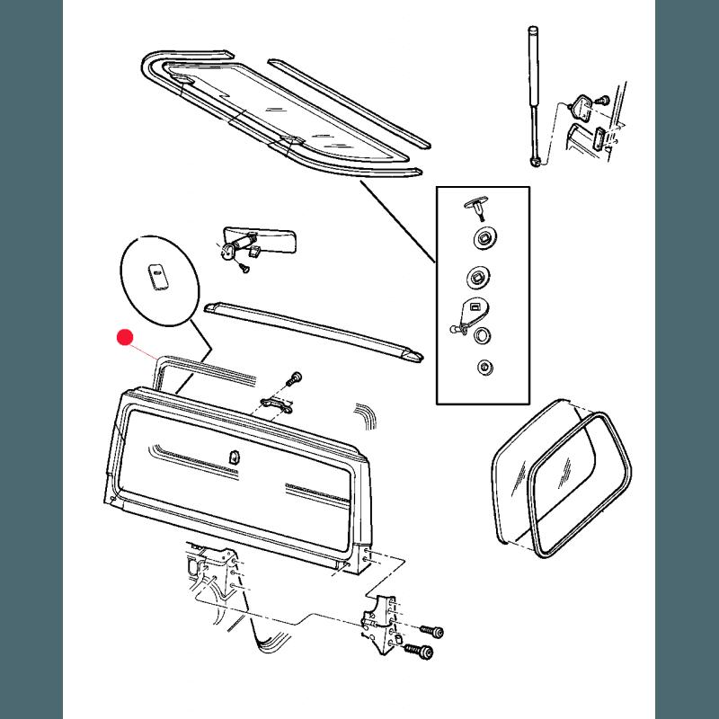Joint de pare-brise intérieur Jeep Wrangler TJ 1997-2006 // 55176430AD