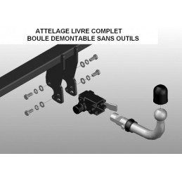 Attelage Jeep Cherokee KK 2008-2013 - DÉMONTABLE SANS OUTILS - 3500Kg, BOULE T36, Norme CE Made in Europe // 1662T36