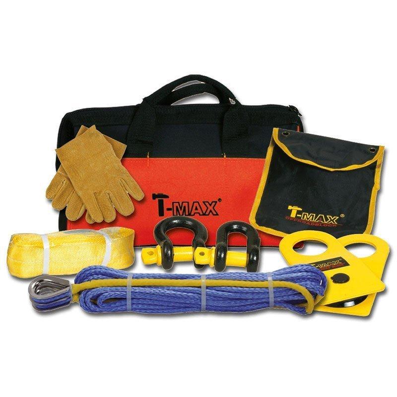 Mallette de traction T-Max , sangle, poulie de mouflage, manille, gants, chaîne de traction avec crochets // WA-10101