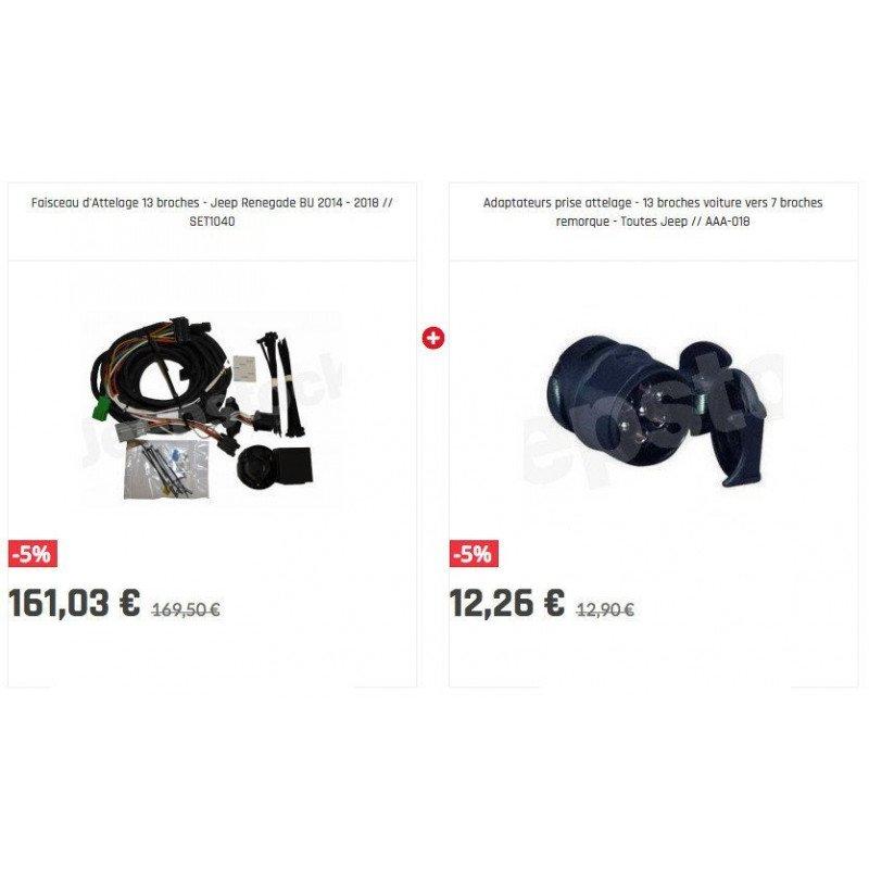 Pack Faisceau d'Attelage 13 broches + Adaptateur 13/7  Jeep Renegade BU 2014 - 2018 // SET1040+AAA-018
