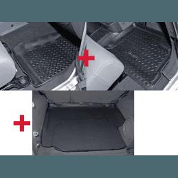 Tapis de sol Avant Noir - Jeep Wrangler JK 2007-2018, Gauche + Droite en caoutchouc, 2 ou 4 portes // 1566.23