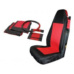 Housses de siège avant + couvre-volant + manchons de ceintures Jeep Wrangler TJ 2003-2006 - Noir/Rouge //SCP20030