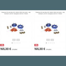 Élargisseurs de voies Bleus (X4) Jeep Cherokee KL 2014-2018 / Renegade BU 2015-2018 - +2x20mm (40mm par essieu)