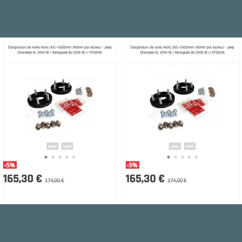 Élargisseurs de voies Noirs (X4) Jeep Cherokee KL 2014-18 / Renegade BU 2015-18 - +2x20mm (40mm par essieu)