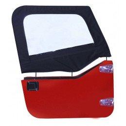 Haut de demi-porte Toile Jeep Wrangler TJ 1997-2006, 2x toiles de Demi-porte G+D, Noir Satiné // DS10135