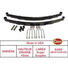 *Kit Lames de suspension ARRIERE Jeep Wrangler YJ 87-95 - Hauteur origine +0mm, Lames SUPER SOUPLE + Brides + Silent-Blocs