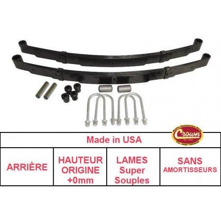 **Kit Lames de suspension ARRIERE Jeep Wrangler YJ 87-95 - Hauteur origine +0mm, Lames SUPER SOUPLE + Brides + Silent-Blocs
