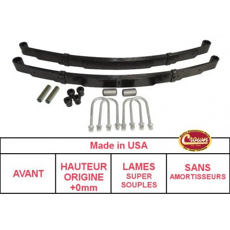 **Kit Lames de suspension AVANT Jeep Wrangler YJ 87-95 - Hauteur origine +0mm, Lames SUPER SOUPLE + Brides + Silent-Blocs