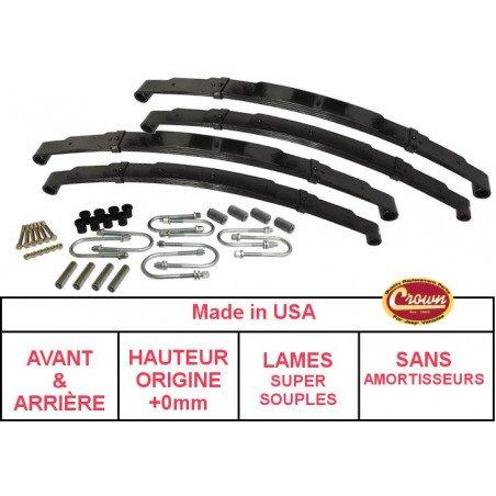 **Kit Lames de suspension AVANT+ARRIÈRE Jeep Wrangler YJ 87-95 - Hauteur origine +0mm, Lame SUPER SOUPLE + Brides + Silent-Blocs