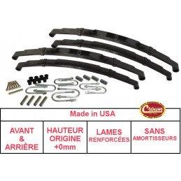 *Kit Lames de suspension AVANT+ARRIÈRE Jeep Wrangler YJ 87-95 - Hauteur origine +0mm, Lames RENFORCÉES + Brides + Silent-Blocs