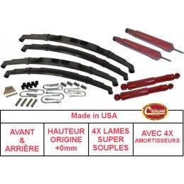 *Kit Lames de suspension + Amortisseurs AVANT + ARRIÈRE Jeep Wrangler YJ 87-95 - Hauteur origine +0mm SUPER SOUPLE