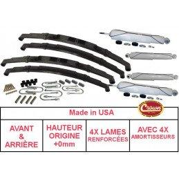 *Kit Lames de suspension + Amortisseurs AVANT + ARRIÈRE Jeep Wrangler YJ 87-95 - Hauteur origine +0mm, RENFORCÉ