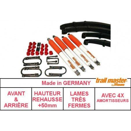 *Kit rehausse Jeep Wrangler YJ 87-95, + 50mm - Trail Master TRÈS FERME, avec Amortisseurs // SCB04139
