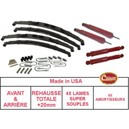 * Kit suspension Jeep Wrangler YJ , Confort , Rehausse +20 mm