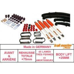 *Kit Rehausse Jeep Wrangler YJ 87-95- Lames TRÈS FERMES +50mm + Body Lift +25mm + Amortisseurs