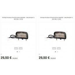 Kit x2 Éclairages de plaque d'immatriculation Adaptable - Jeep Wrangler YJ 1987-1995 // D14116x2