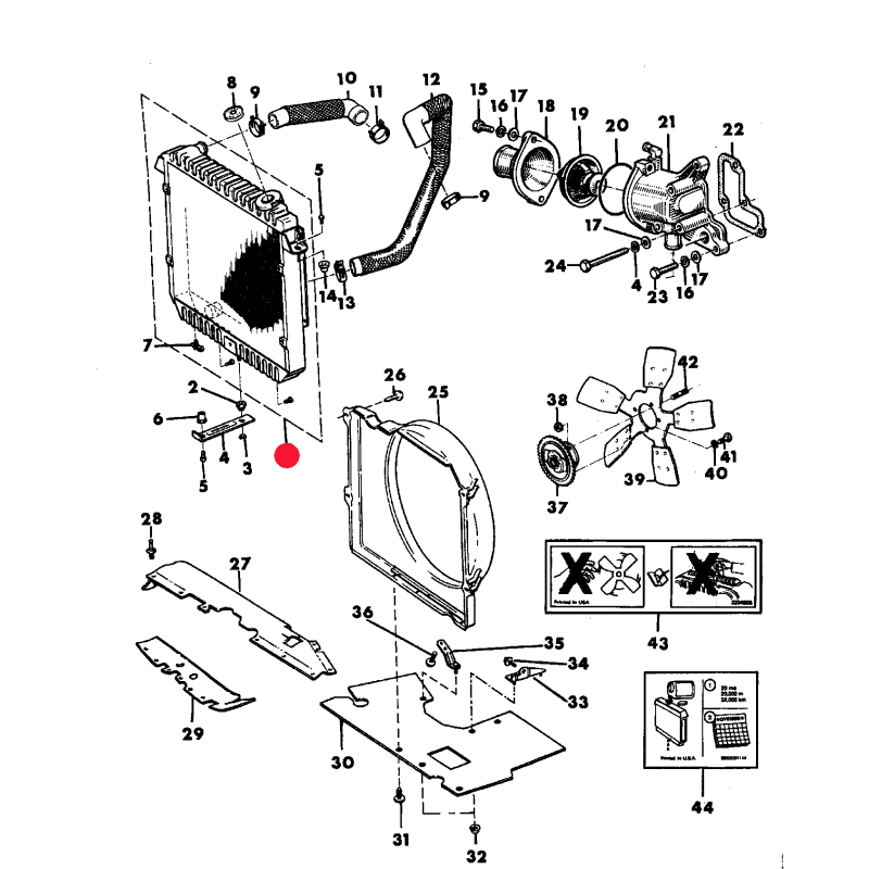 Radiateur refroidissement moteur Jeep Cherokee XJ 2,1L TD 1991-1994 -- 52028117