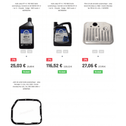 *Pack vidange boite auto Jeep Grand-cherokee ZJ V8 5,2L - 5,9L 1998 ATF+4, joint, filtre