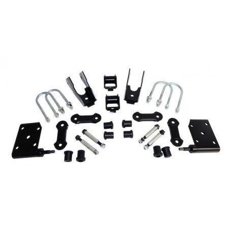 Kit Fixation Lames de suspension Pont AVANT - Jeep Wrangler YJ 1987-1995 - Jumelles + Brides + Silent-blocs -- 52040407K
