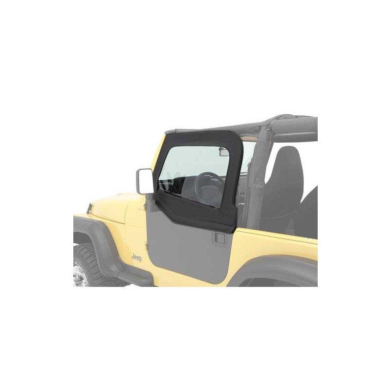 Haut de Demi porte Toile Jeep Wrangler TJ 1997-2006 - 2X en Tissus Noir satiné pour portes Bestop HighRock -- 51793-35