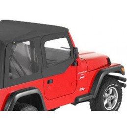 Haut de Demi porte Toile Jeep Wrangler TJ 1997-2006 - 2x haut demi-portes Tissus Noir satiné - Pour portes Origine -- 51790-35