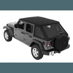 Bâches Jeep Wrangler JL 4 portes 2018-2019, Trektop Bestop, bâche Sergé Noir -- 56863-17