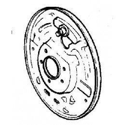 Flasque de frein Arrière Gauche - NON ABS, OCCASION - Jeep Wrangler YJ 1990-95 / TJ 1997-06 / Cherokee XJ 1990-2001