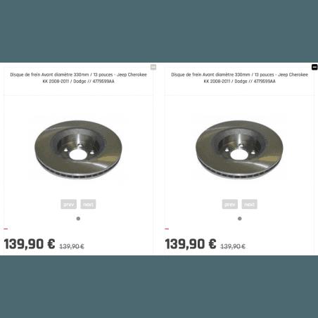 Disque de frein Avant diamètre 330mm / 13 pouces (X2) - Jeep Cherokee KK 2008-2011 / Dodge // 4779599AA-V2