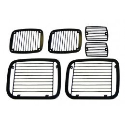 Grilles de protection en aluminium usiné couleur noir Jeep Wrangler YJ 1987-1995 -- RT26034