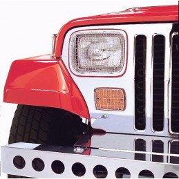 Grilles de protection Jeep Wrangler YJ métal chromé avec vis de fixation
