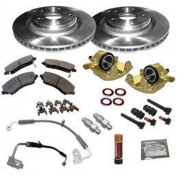 Kit frein avant Jeep Wrangler JK 2007-2010 avec disques, plaquettes, étriers, flexibles, guides + accessoires