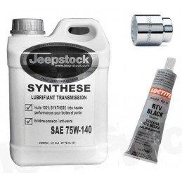 *Pack vidange Pont AV Dana 30 Jeep Wrangler TJ 2.4L 03-06 /TJ 2.5L 96-02 /TJ 4.0L 96-06 - huile + Bouchon + RTV + Douille