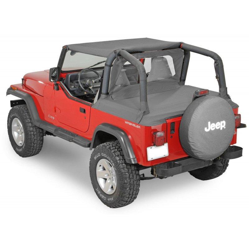 Bâches Jeep Wrangler YJ de 1992 à 1995, Bikini + Coupe vent + Couvre benne, Noir Jean